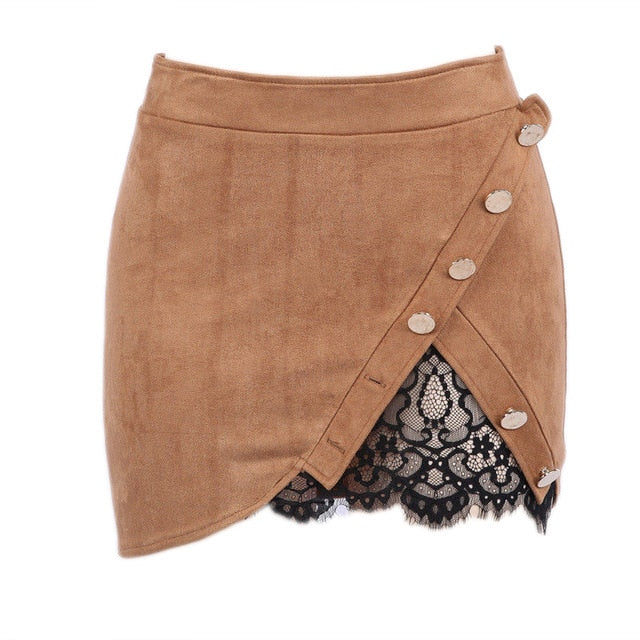 Button Suede Lace Mini Skirt