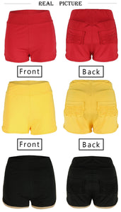 Elastic High Waist Solid Color Butt Lifting Shorts S-XL