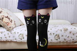 Fashion Cat Stockings Thigh High in Black or White