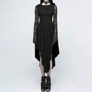 Spider Web Hollow out Hooded Dress S-XL