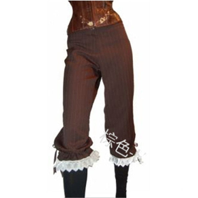 Costume Capris Lace Trousers Black or Brown S-2XL