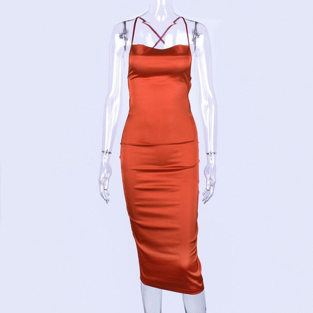 Sleeveless Backless Elegant Pencil Dress in 7 Colors S-L Varied Lengths