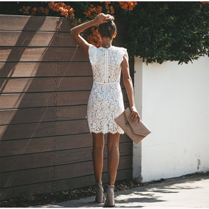 Vintage Patchwork Lace Mini Dress in Black or White S-XL