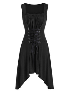Elegant Goth Punk Short Lace Up Dress in 4 Colors S-5XL