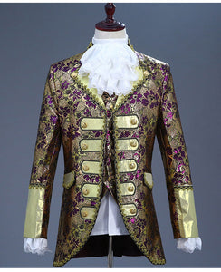 Deluxe Victorian King Prince Costume Top+Vest+Jacket+Ruffled Tie in 5 Colors