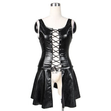 Load image into Gallery viewer, Faux Leather Lace-up Short Dress M-XXL