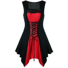 Load image into Gallery viewer, Vintage Gothic Women Dress Lace-up Front in 4 Colors S-4X