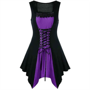 Vintage Gothic Women Dress Lace-up Front in 4 Colors S-4X
