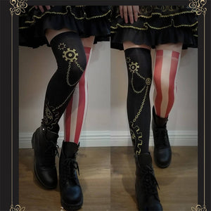 Thigh High Steam Punk Stocking in 2 Styles