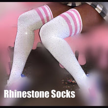 Load image into Gallery viewer, Rhinestones Bling Thigh High Socks in 17 Colors