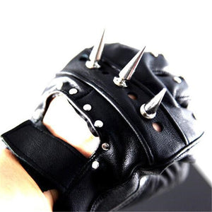 Studded Leather Half Finger Cosplay Gloves Unisex