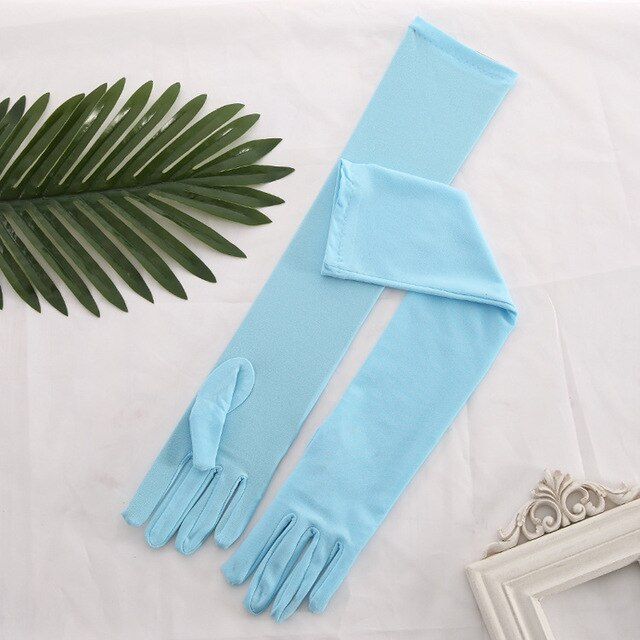 Long Satin Gloves with Tassels in 3 Colors