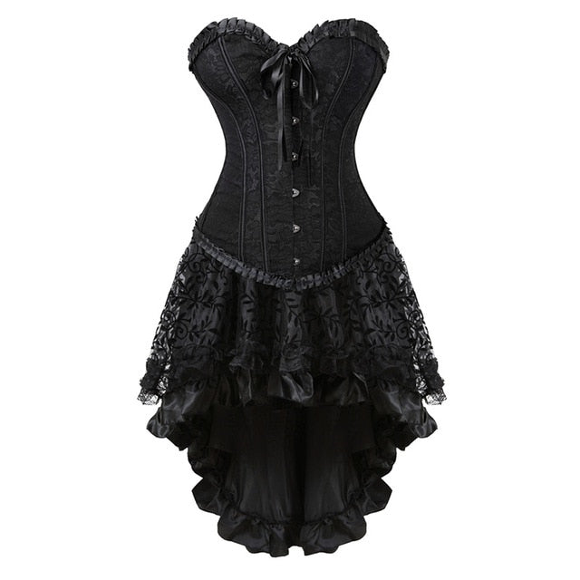 Overbust Corset Bustier Top With Mini TuTu S-6XL