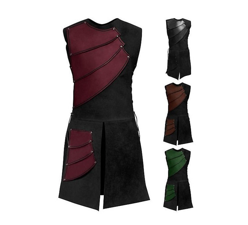 Adult Men's Leather Vest Armor in 4 Colors M-3XL