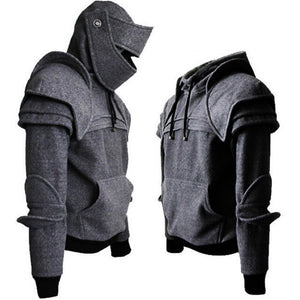 Men's Cosplay Medieval Vintage Warrior Sweater in Grey or Black M-3XL