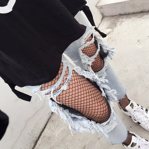 Women Sexy Lingerie Fishnet Embroidered Pantyhose