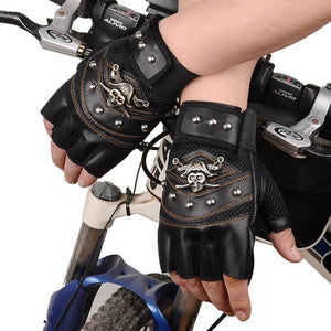 Leather Fingerless Gloves with Pirate emblem