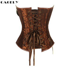 Steampunk Corset with Chain Buckles in Black or Brown S-6XL