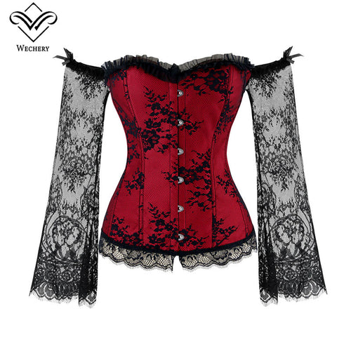 Long Sleeve Lace Corset in 6 Colors S-6XL