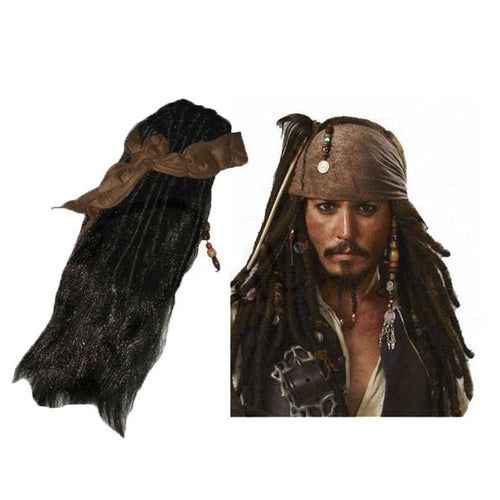Sparrow Wig with Headband+Mustache+Beaded Beard Set