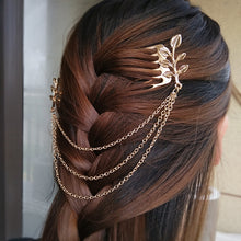 Load image into Gallery viewer, Chain Tassle Hair Comb Cosplay Accessory