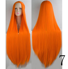 "Load image into Gallery viewer, 40"" Long Straight or Wavy Synthetic Wig Many Colors"