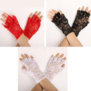 Lace Flower Half Finger Gloves