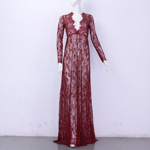 Hollowed Out Lace Dress Floor-Length in 10 Colors S-4XL