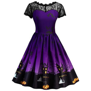 Retro Lace Vintage Dress in Black or Purple