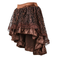 Load image into Gallery viewer, S-6XL Victorian Asymmetrical Ruffled Satin & Lace Trim Gothic Skirts