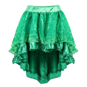 S-6XL Victorian Asymmetrical Ruffled Satin & Lace Trim Gothic Skirts