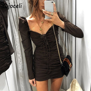 Long Sleeve Bodycon Lace Up MINI-dress S-L