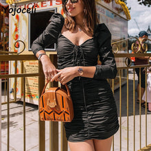 Load image into Gallery viewer, Long Sleeve Bodycon Lace Up MINI-dress S-L