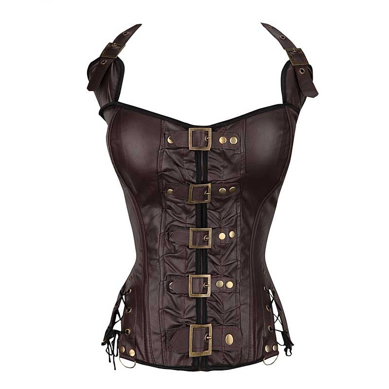 Buckled Lace-up Warriors Corset in Coffee or Black