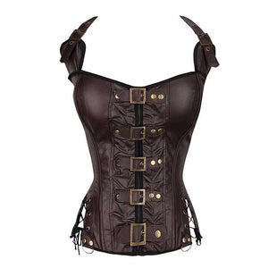 Buckled Lace-up Warriors Corset in Coffee or Black S-2XL