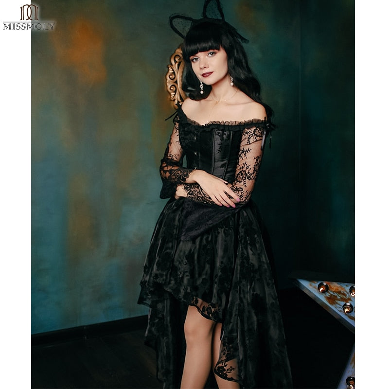Steampunk Corset Irregular Hem Cosplay 2 Piece Dress S-2XL