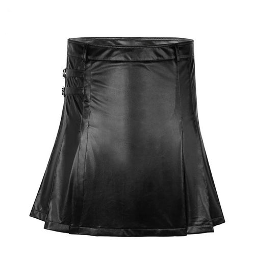 Mens Faux Leather Pleated Kilt