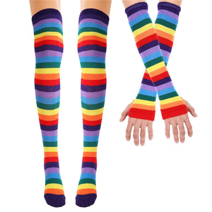 Rainbow stockings and Arm Warmer Gloves