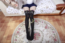 Load image into Gallery viewer, Fashion Cat Stockings Thigh High in Black or White