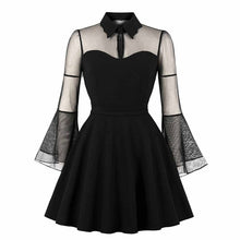Load image into Gallery viewer, Gothic Flare Sleeve Wednesday Dress S-4XL in 3 colors