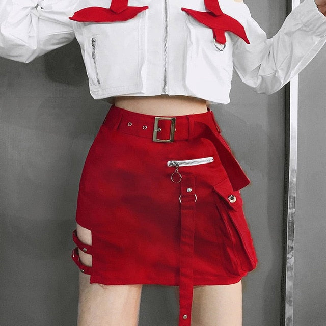 Steam Punk Tactical Mini-Skirt in Black or Red