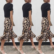 Load image into Gallery viewer, Leopard Skirt Split High-waist