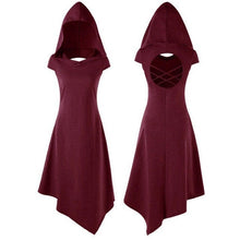 Load image into Gallery viewer, Steampunk Witch Hooded Hollow Dress in 4 Colors S-XL