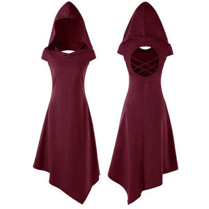 Steampunk Witch Hooded Hollow Dress in 4 Colors S-XL