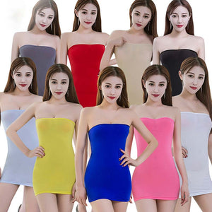 Elastic Seamless Strapless Tube Mini Skirts in 10 Colors