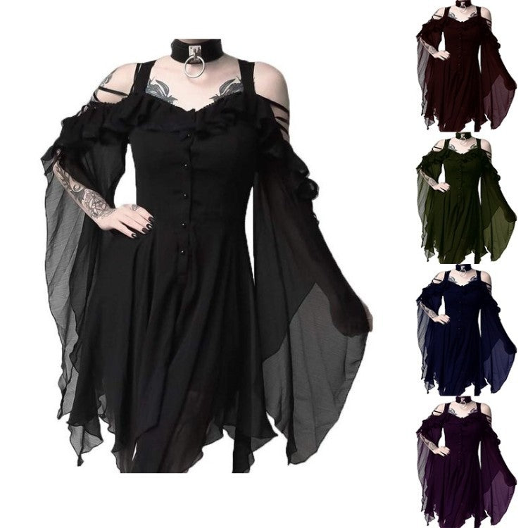 Dark Beauty Irregular Hem Dress in 5 Colors S-5XL