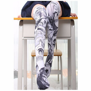 Printed Thigh High Stockings in Grey or Red