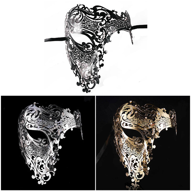 Venetian Masquerade Half Face Mask Men and Women Black, Gold, White