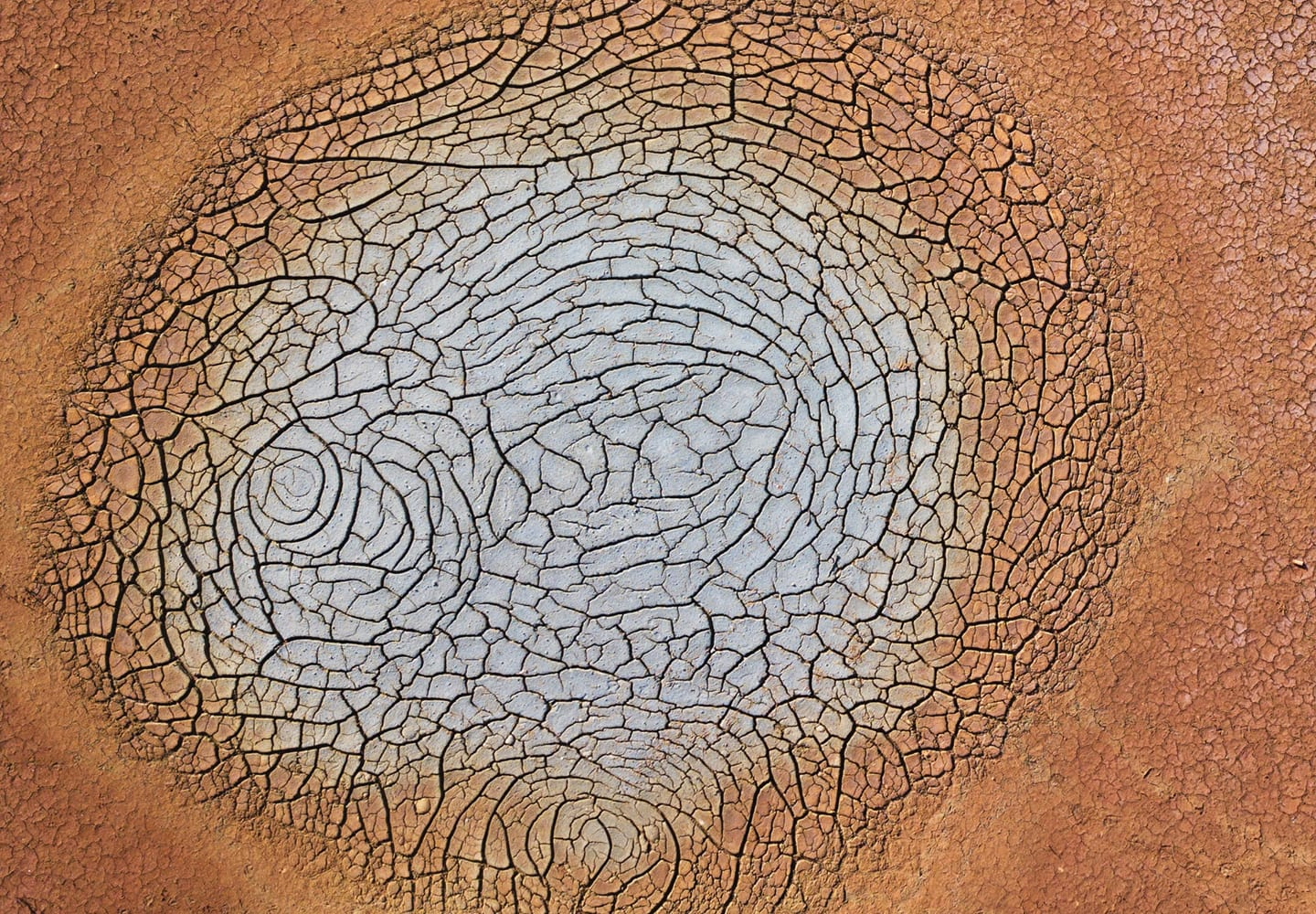 Dry and cracked red earth