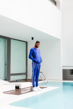 NIPSEY BLUE TRACK BOTTOMS BLUE/WHITE/RED - Gxng